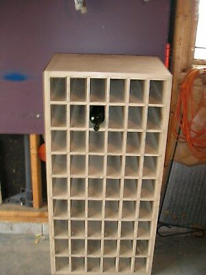 Antique Original  Post Office Box Door Cabinet Solid Oak Wood Wine Rack