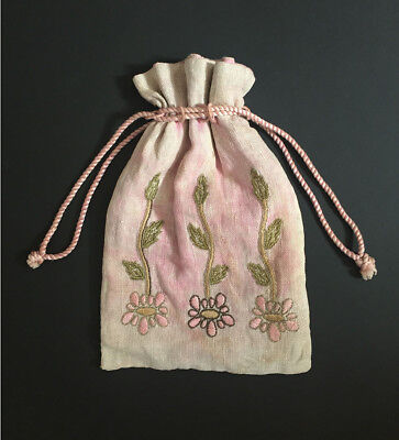Antique Early 1900's Arts and Crafts Floral Embroidered Drawstring Purse, Bag