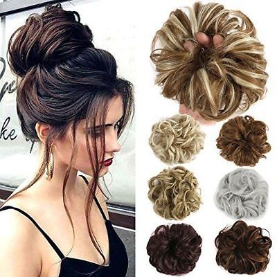 Messy Curly Bun Hair Extensions Hairpiece Scrunchie Updo Pony Tail Styling HS