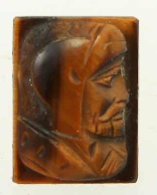 Vintage Hand Carved Tiger's Eye Roman Soldier Cameo Loose 16x12mm Unset Gemstone