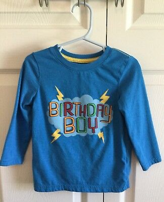 Cat And Jack Toddler Boys Bright Blue Birthday Boy Shirt Top Size 2T VGUC