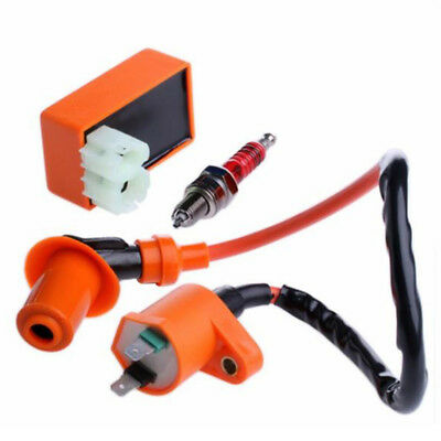 Racing Ignition Coil CDI + Ignition Coil + Spark Plug For GY6 50cc 125cc 150cc M