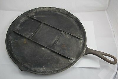 Vintage Griswold Round Breakfast Skillet Divided Cast Iron Rare 665 A