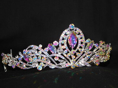 Silver AB Iridescent Rhinestone Crystal Queen Tiara Crown Bridal Pageant /1183