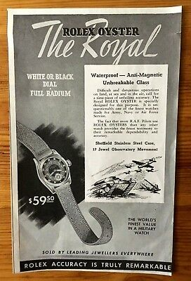 Very Rare 1942 Wwii Canada War Canadian Ad  Rolex Watch Royal Pilots Military