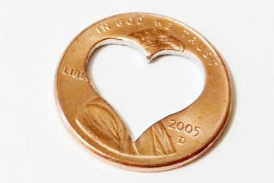 Lucky  PENNY HEART CUT OUT   Love Coin Token Charm
