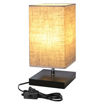 LED Table Lamp Bedside Desk Lamps with Square Flaxen Fabric Shade for Bedroom