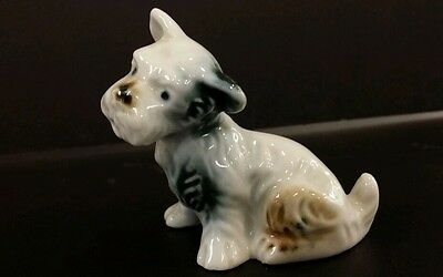 vTg Hand Painted Airedale Fox Terrier Porcelain Puppy Dog  Figurine Japan
