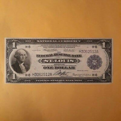 1914 U.s. One DollarSt. LouisNational Currency Large Size Note
