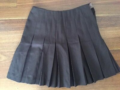 Vintage Womens Fletcher Jones Box Pleat Skirt Chocolate Brown Fits Size 10-12