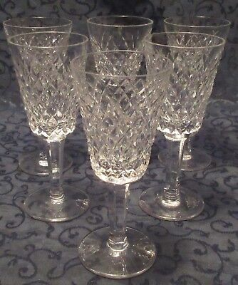 "Six Waterford Ireland Irish Crystal Sherry  Glasses Alana Pattern 5-1/8"" Tall"