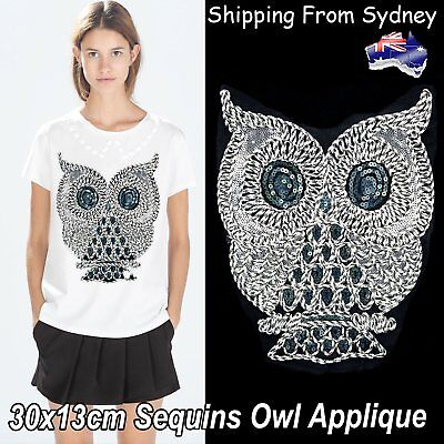 Embroidered Lace Trim Sequin Owl Applique Patch Sewing Craft Wide Fabric 30x13cm
