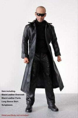 1:6 Scale Man Black Leather Jacket Model Long Coat Pants and Shoes Clothing Toy