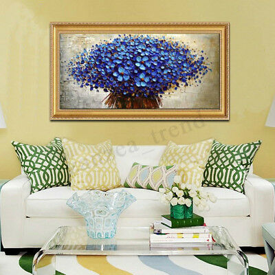 UK Blue Tree Canvas Art Oil Painting Modern Abstract Wall Home Decor Unframed