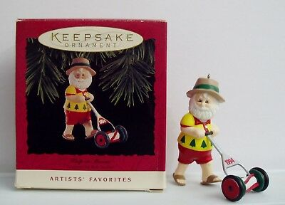 1994 Hallmark Keep On Mowin' Santa Keepsake Christmas Ornament Mowing Lawn Mower