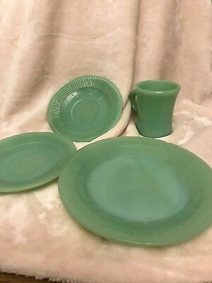 Lot of  4 Fire King Jane Ray  Plate, Jadeite Cup and 2 Saucers