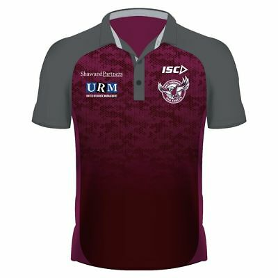 Manly Sea Eagles 2019 Performance Polo Sizes S - 5XL Dk Scarlett/Carbon ISC NRL