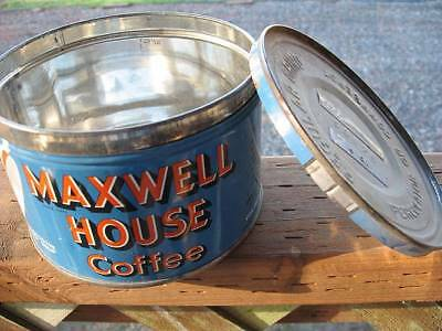 Vintage Maxwell House Blue 1 LB Coffee Can Tin key wind w/ Lid~FREE SHIPPING