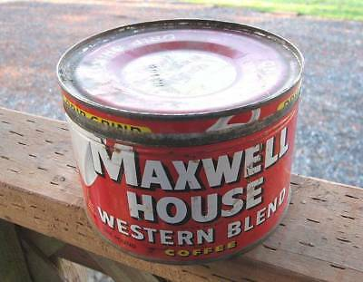 Vintage Maxwell House RED, WESTERN BLEND Coffee Can w/ Lid~FREE SHIPPING