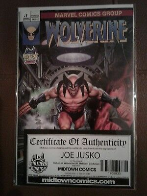 Marvel Return Of Wolverine 1 Midtown Variant Signed Joe Jusko COA MINT Exclusive
