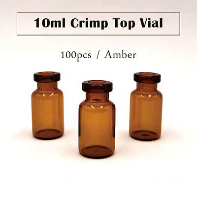 100Pcs 10ml Small Tiny Glass Vials Bottles Clear Containers with Screw Cap Amber