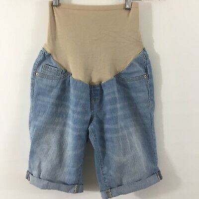 Old Navy Maternity Jean Bermuda Shorts Size 2 Light Wash Cuffed Full Belly Panel