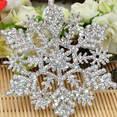 12Pcs Glitter Snowflake Christmas Ornaments Xmas Tree Hanging Party Decoration
