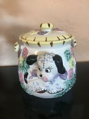 3-D Puppy & Bird Cookie Snack Jar (?) 1940 -1950's hand painted Japan