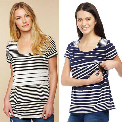 US Stock Maternity Clothes Nursing Top Breastfeeding T-Shirt For Pregnant Womens