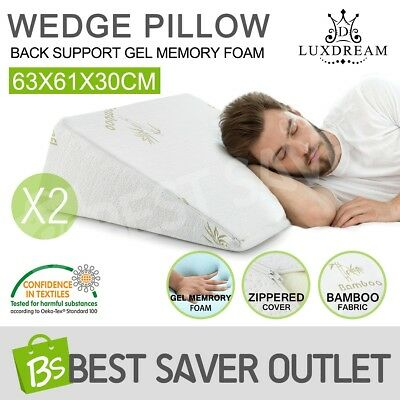 2X Cool Gel Memory Foam Wedge Pillow Neck Back Sleep Bed Support Cushion Relax