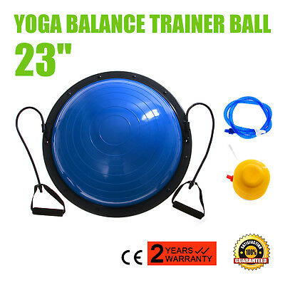 "23"" Exercise Yoga Half Ball Balance Trainer Fitness Strength Workout Gym + Pump"