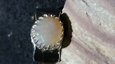 Handmade sterling silver solid Coober Pedy crystal opal ring
