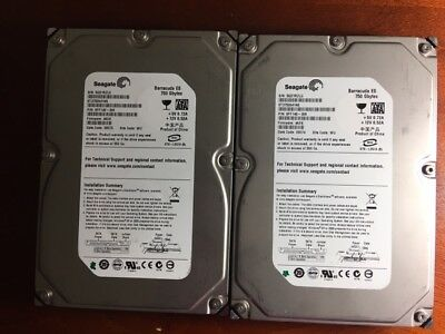 "Lot of 2 SEAGATE 750GB DESKTOP INTERNAL SATA HARD DRIVE HDD 3.5"" TESTED 100%"