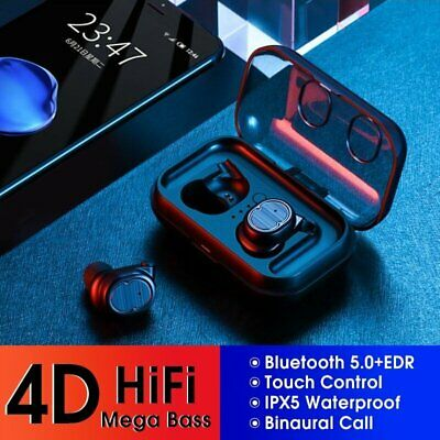 New Bluetooth 5.0 Touch Control Mini TWS Wireless HiFi Earphones Earbuds In-Ear