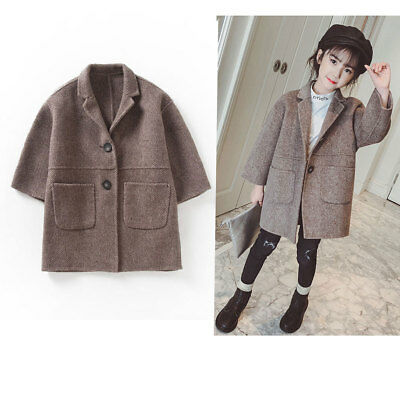 476a9dae31345 Baby Girls Coat Warm Overcoat Fur Lapel Jacket Kid Winter Outerwear Fashion  New