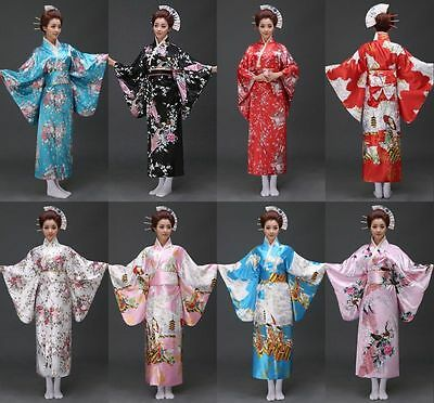 Retro/Japanese Traditional Yukata Cosplay Peacock Kimono Robe Geisha Dress/Obi