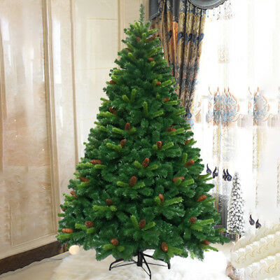 5/6/7/8Ft Large Artificial Christmas Tree Realistic Xmas Decor With Cones Stand