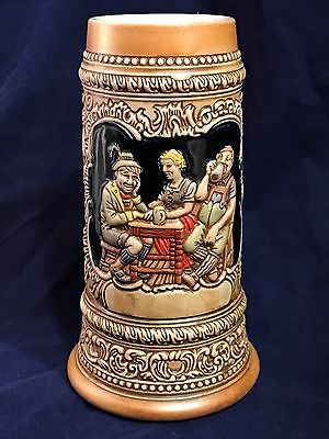 VINTAGE CERAMARTE BEER STEIN MUG w/TAVERN BAR SCENE & GERMAN SAYINGS/CHEERS