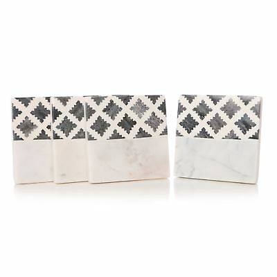 Heavy Marble Effect with Grey Lattice Design Coasters Set of 4