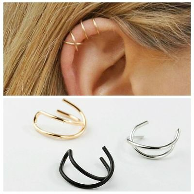 Unisex Xmas Jewelry Punk No Piercing Earrings Cuff Cartilage Ear Studs Clip On
