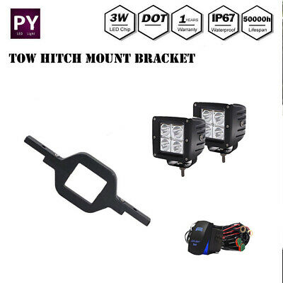 2x18W LED Backup Reverse Light +Tow Hitch Mount Bracket For Ford Jeep SUV Truck