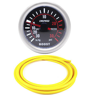 52mm CN-1 Smoked Turbo Boost Gauge -30 to 30 Psi With Yellow Silicone Hose