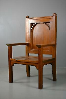 Large Solid Oak Gothic Style Chair