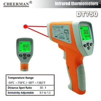 Temperature Gun Non-contact Infrared IR Laser Digital Thermometer DT750 ZL