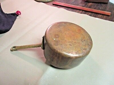 Vintage French Copper & Brass Sauce Pan-Old Pot-Paris Brocante-Kitchen