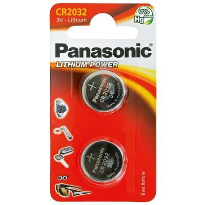 2 Panasonic CR2032 3V Lithium Coin Cell Battery 2032 For Watches Fob Keys Alarm