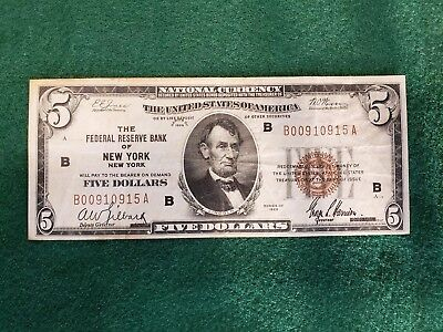 1929 $5 Five Dollar National Bank Note. Federal Reserve Bank of New York.