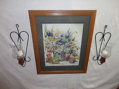 Home Interiors   ''Birdhouses & Daisy '' Picture  Sconces  7pc  Gorgeous
