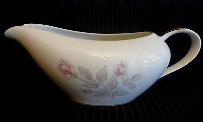 Fine China ROSE 1750 Japan Handled SAUCE GRAVY BOAT Pink Roses with Gold Trim