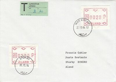 Q3407 Mariehamn Oct 1984 underpaid Frama cover T label Storby cds Frama pdue